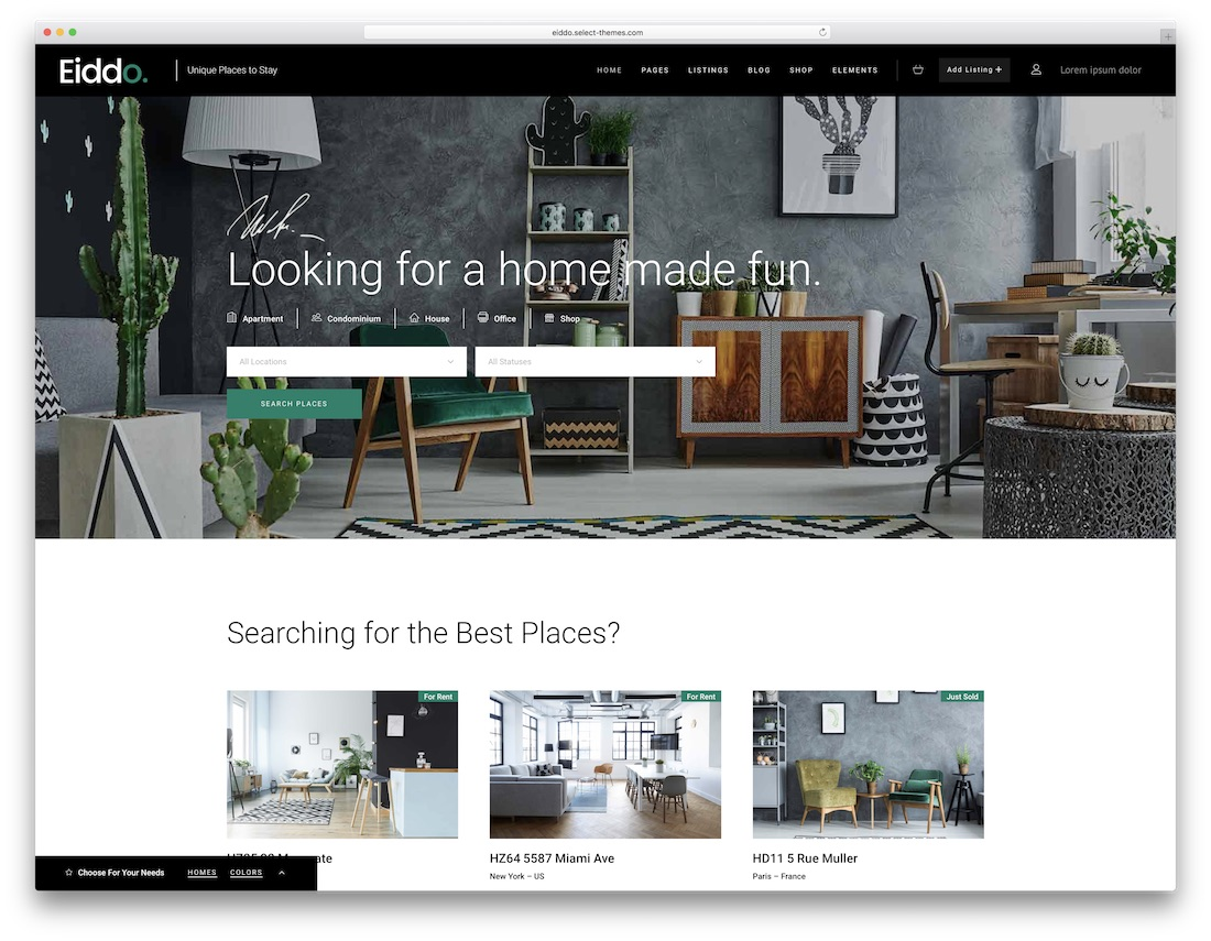 modern commercial real estate wordpress template