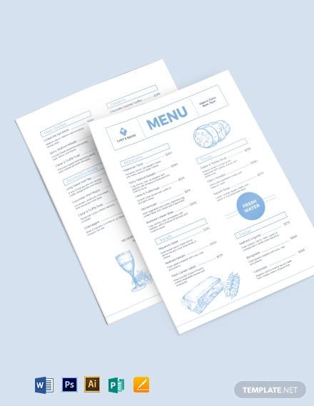 modern dinner menu template