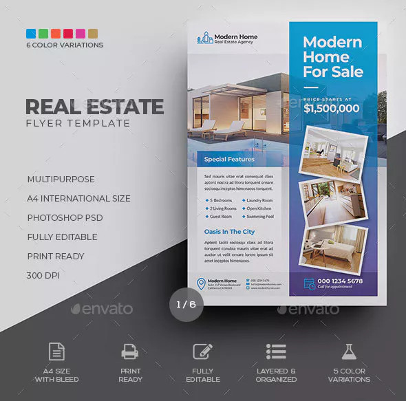 modern home for sale residential real estate flyer1