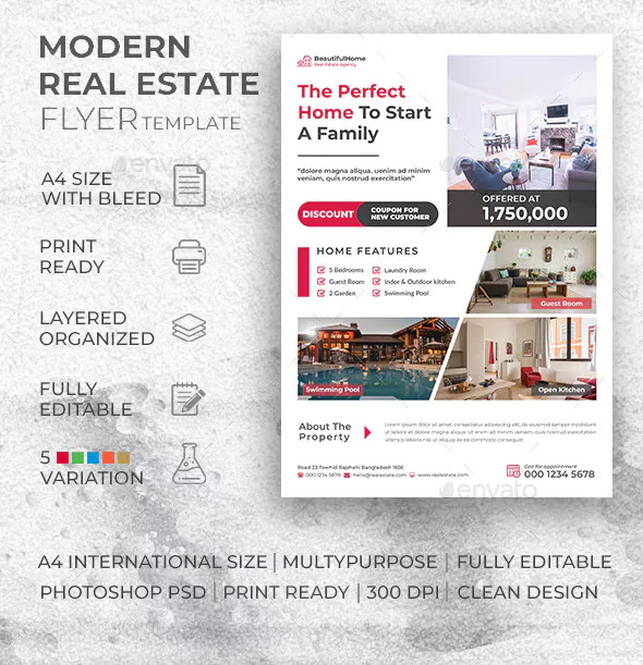 modern residential real estate flyer example