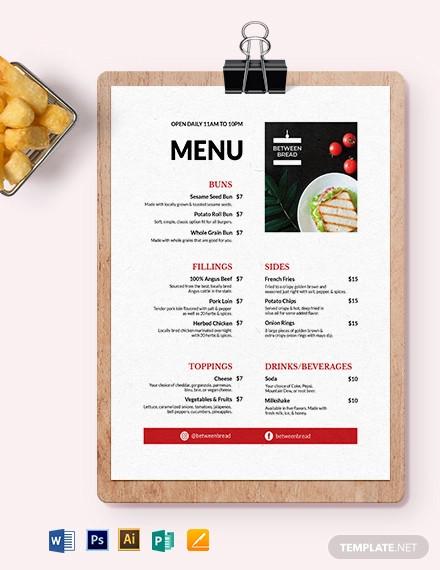 modern sandwich sub menu template