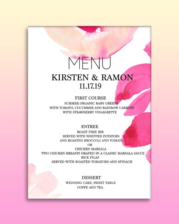 modern watercolor wedding menu