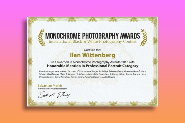 monochrome photography awards certificate