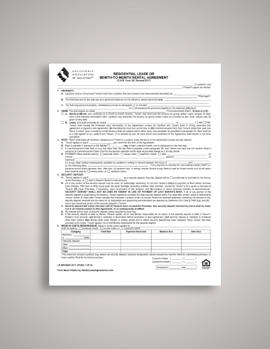 month to month tenant lease agreement