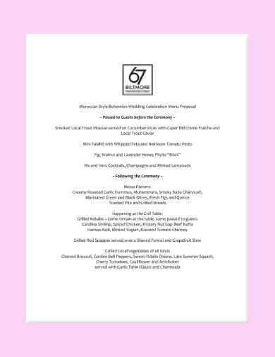 moroccan style bohemian wedding celebration menu proposal
