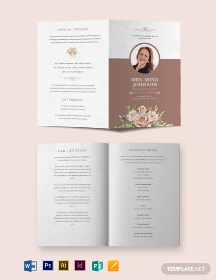 mother mom funeral obituary bi fold brochure template