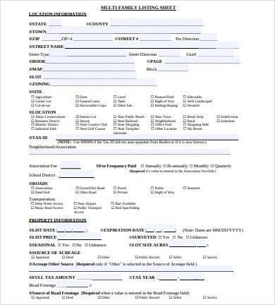 multi family property listing sheet