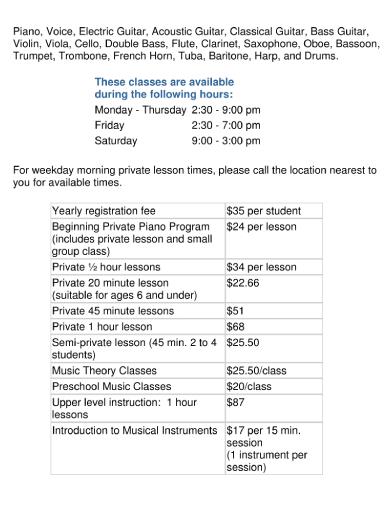 music lesson schedule