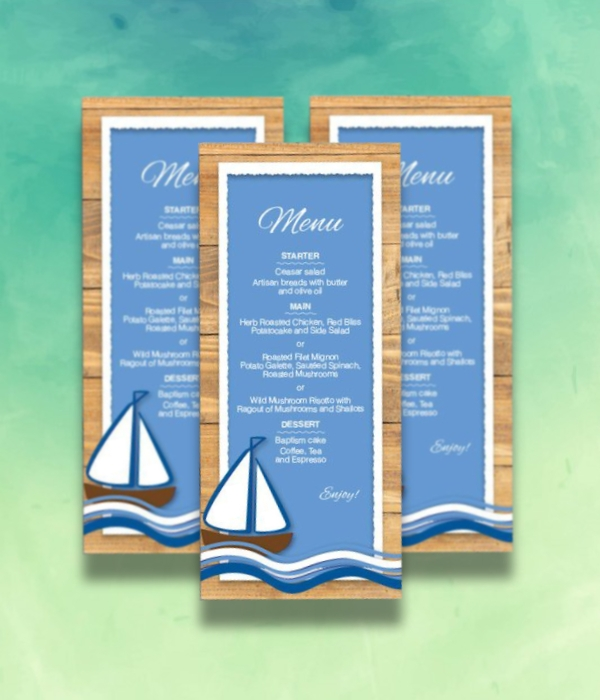 nautical blue baptism menu