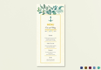 nautical wedding menu card