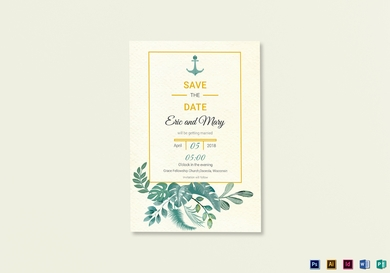 nautical wedding save the date card