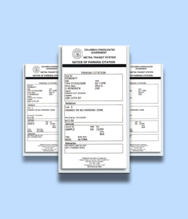 notice of parking citation ticket