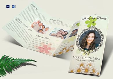 obituary funeral trifold brochure
