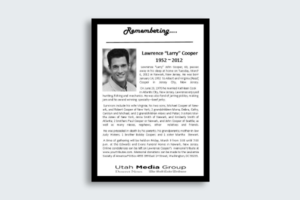 obituary notice card