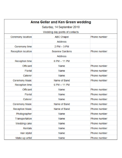 official wedding schedule