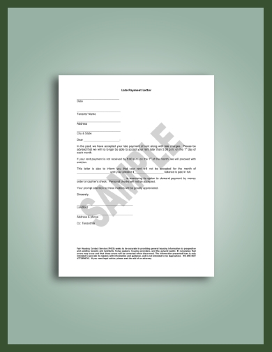 one page late rent notice to tenant