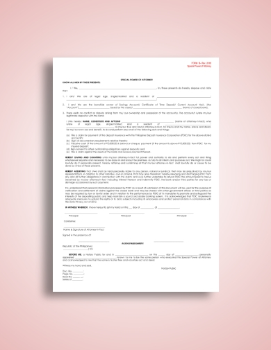 one page special power of attorney