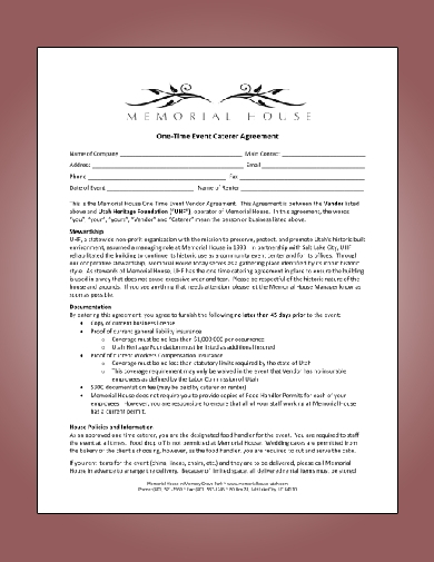 one time event caterer agreement