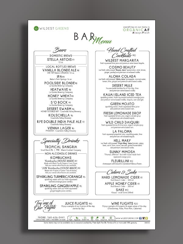 organic bar menu
