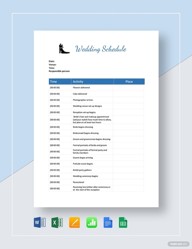 organized wedding schedule