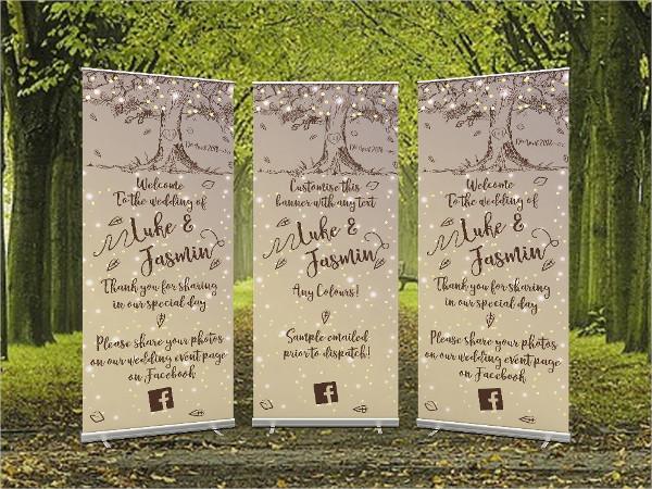 outdoor wedding roll up banner