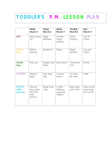 pm lesson plan for toddlers