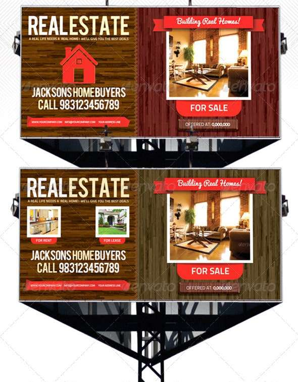 psd real estate outdoor banner and billboard signage