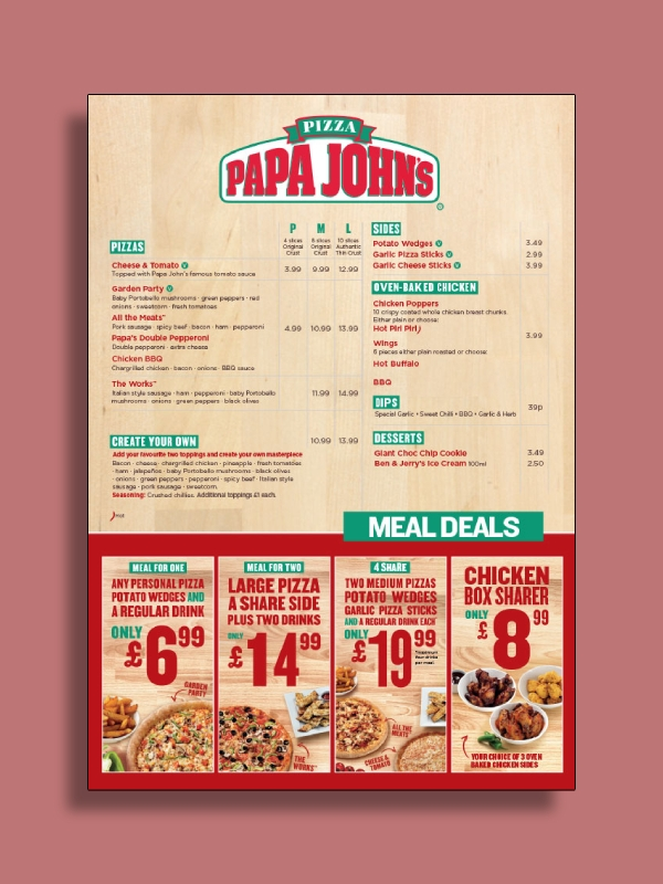 picture regarding Papa Johns Printable Menu called 6+ Pizza Menu Illustrations Templates [Down load At this time] Illustrations