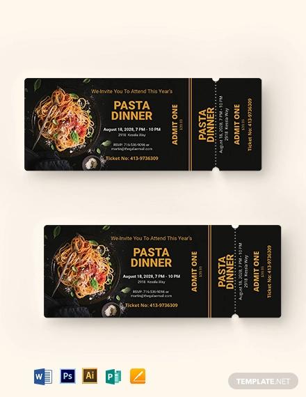 pasta dinner ticket template