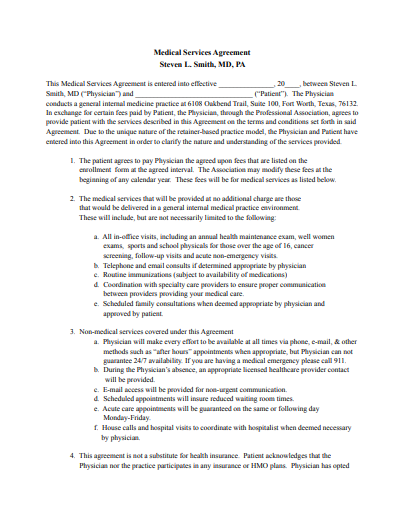 patient physician agreement