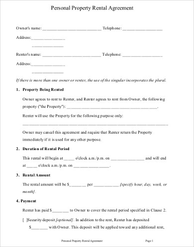 personal property rental agreement