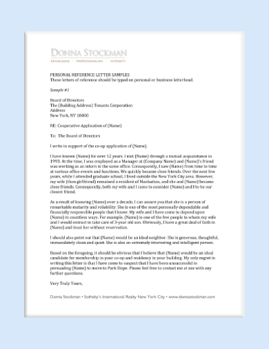 personal reference letter for tenant
