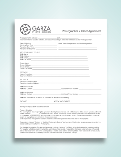 photographer and client agreement