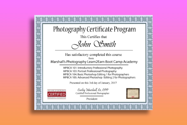 photography bootcamp academy certificate