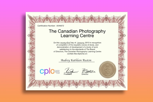 photography learning center certificate