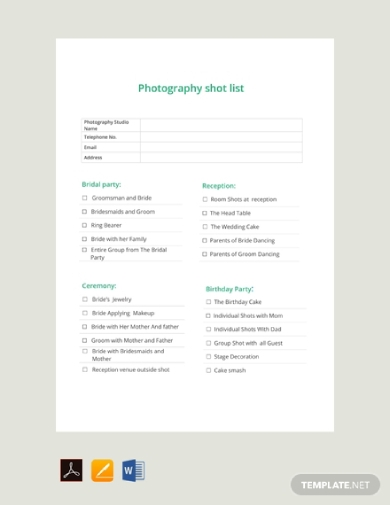 photography shot list