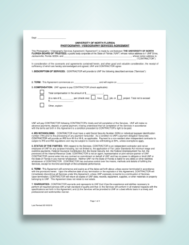 photography videography services agreement