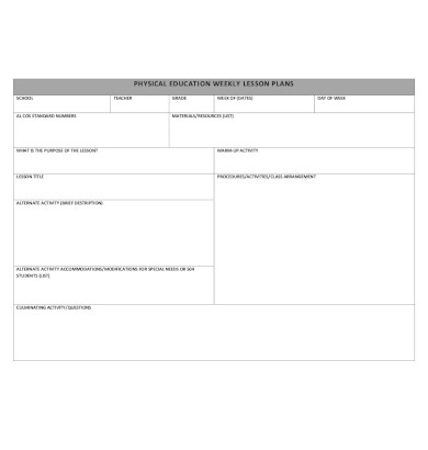physical education weekly lesson plan1