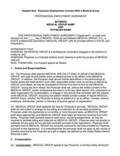 physician employment agreement