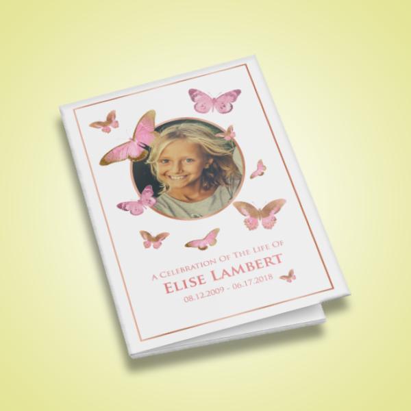 pink butterflies child funeral program