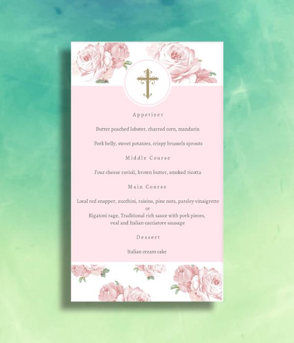 pink floral baptism menu
