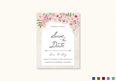pink floral save the date card