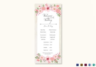 pink floral wedding program card
