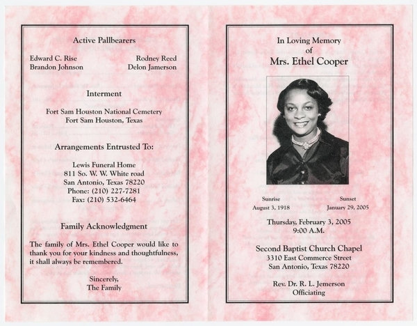 pink funeral program