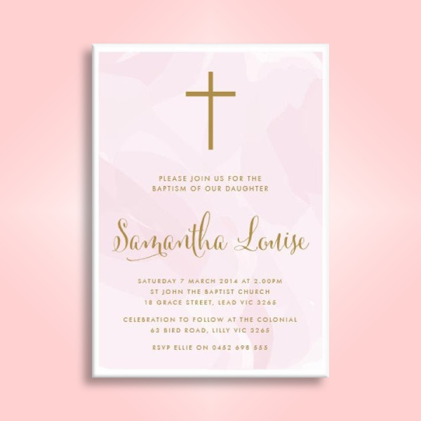 pink watercolor baptism invitation