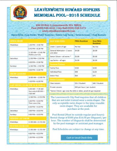 pool swim lesson schedule