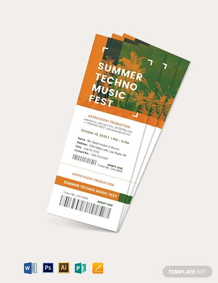 pre sale ticket template