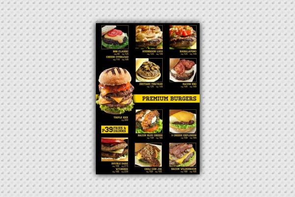 premium burger menu