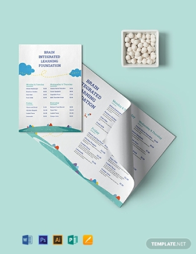 preschool food menu