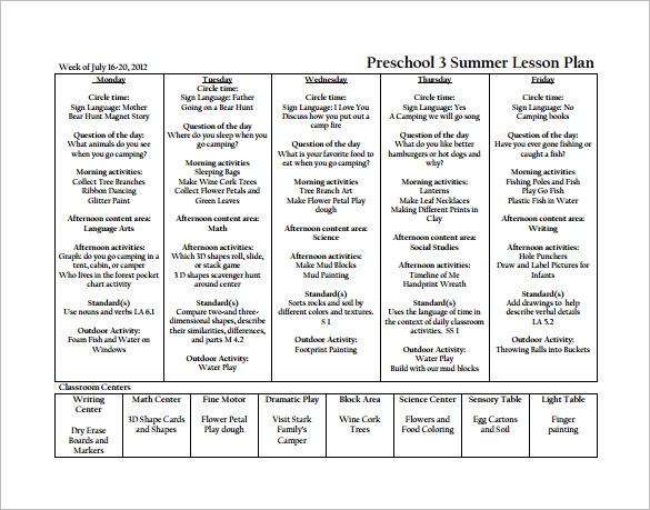 preschool summer lesson plan